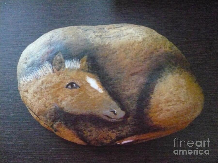 Rock Painting - Horse-colt by Monika Shepherdson