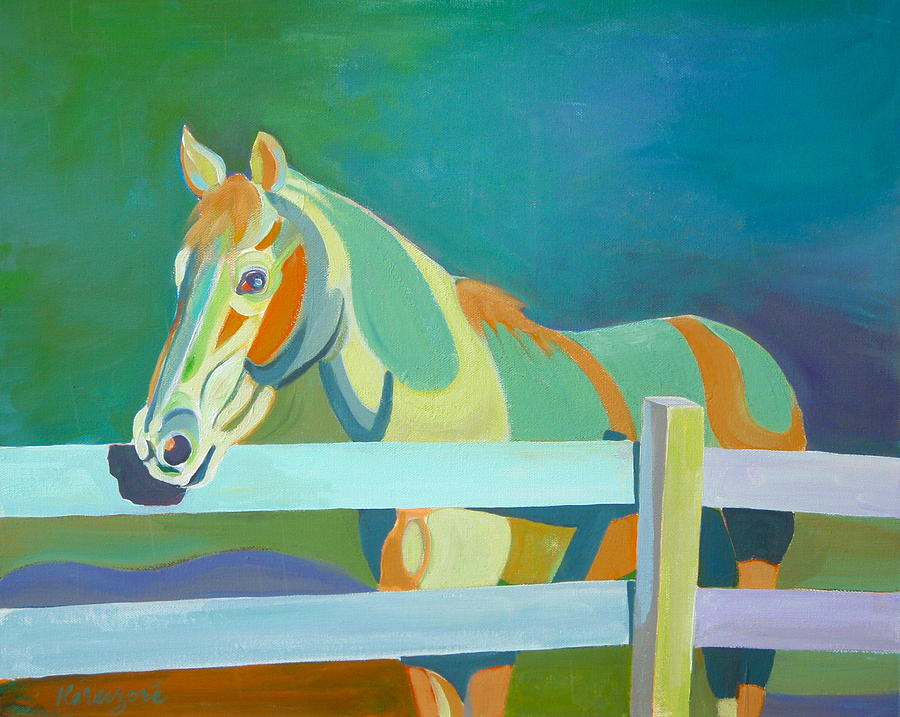 Horse In The Paddock Painting by Thierry Keruzore