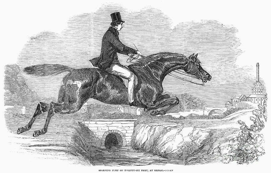 1852 Photograph - Horse-jumping, 1852 by Granger