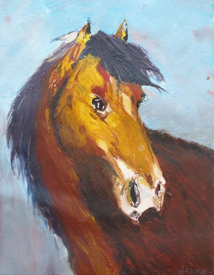 Horse Painting - Horse - Knife Painting by Rejeena Niaz
