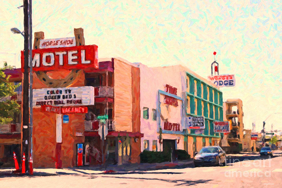 Lodge Photograph - Horse Shoe Motel by Wingsdomain Art and Photography