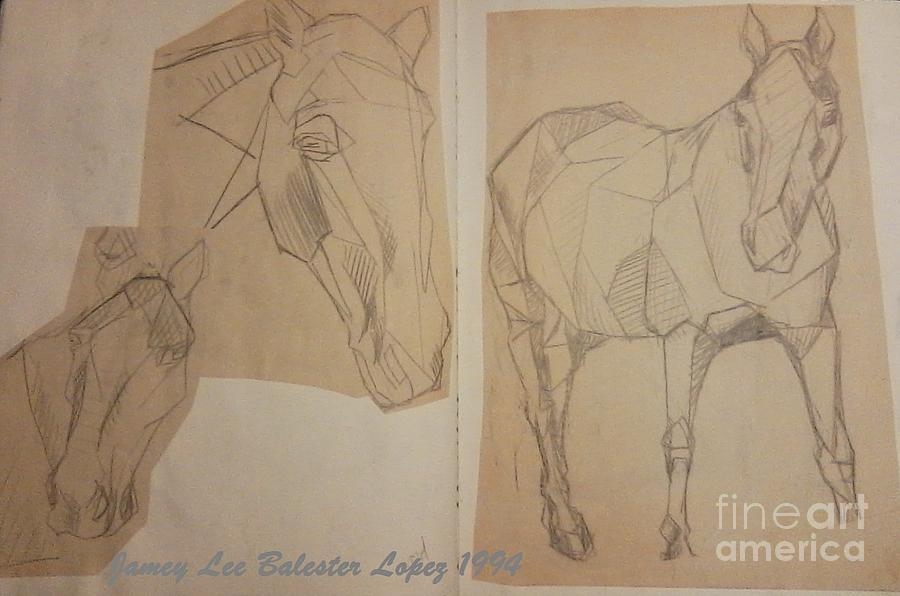 Horses Sketch Drawing - Horse Study Sketchbook by Jamey Balester