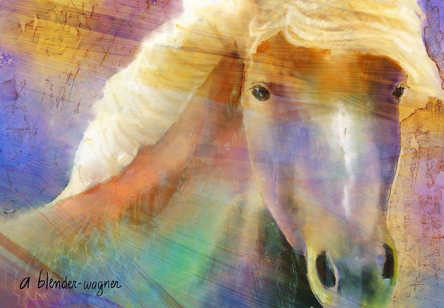 Horse Digital Art - Horse With The Golden Mane by Arline Wagner