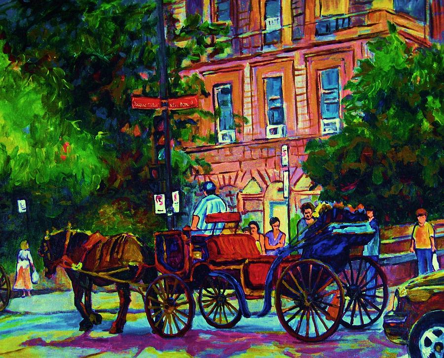 Rue Notre Dame Painting - Horsedrawn Carriage by Carole Spandau