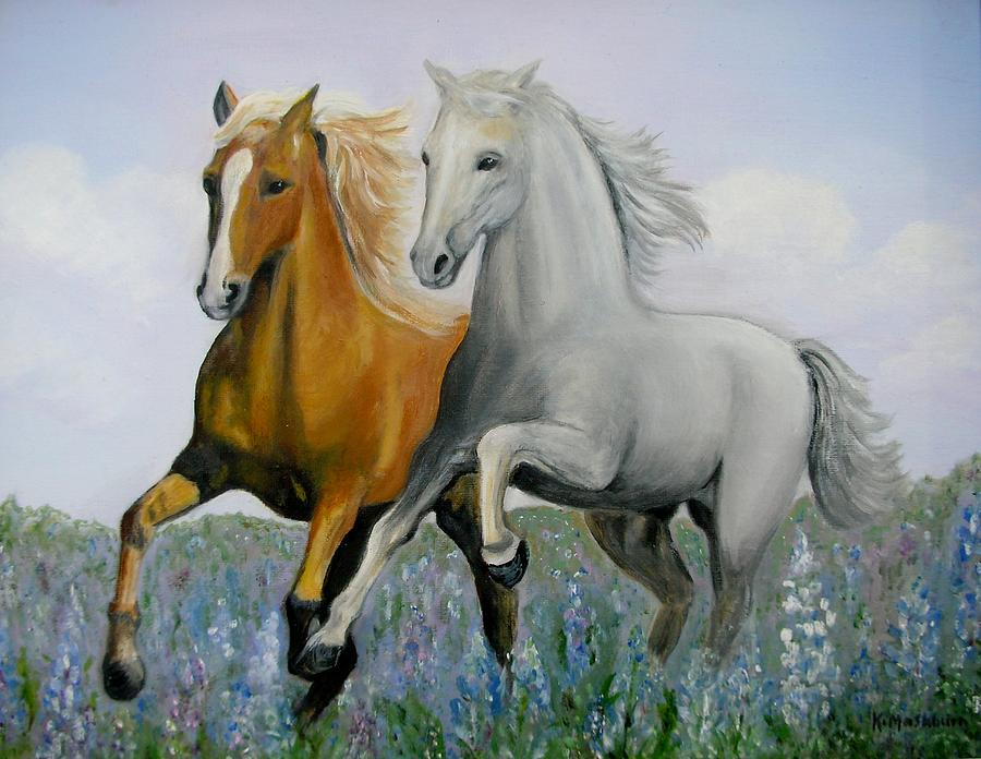 Animal Paintings Painting - Horses And Bluebonnets by Kay Mashburn