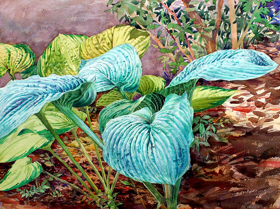 Watercolor Painting - Hosta by Peter Sit