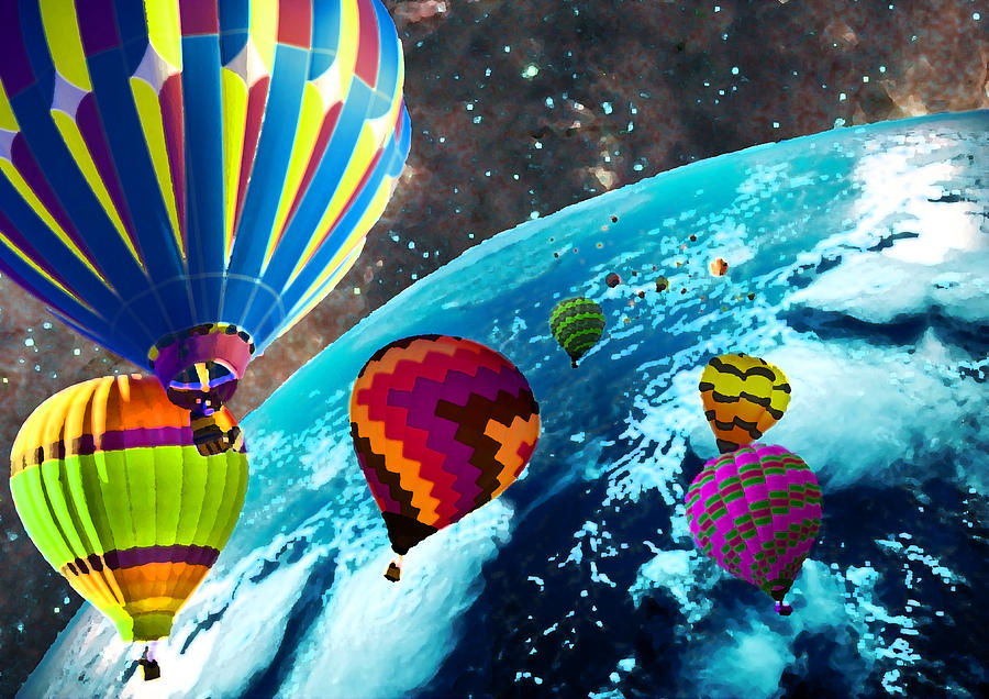 Hot Photograph - Hot Air Balloon Space Race by Michael Ambrose