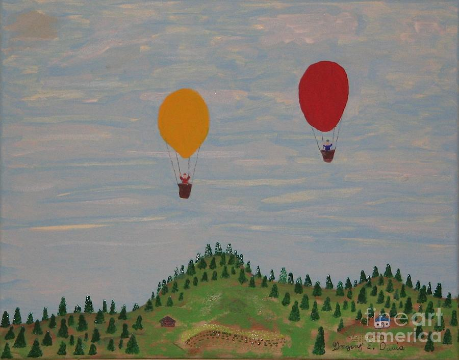 Farm Painting - Hot Air Balloons by Gregory Davis
