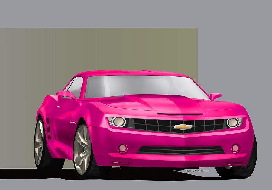 Hot Pink Digital Art - Hot Pink Camaro by Colin Tresadern