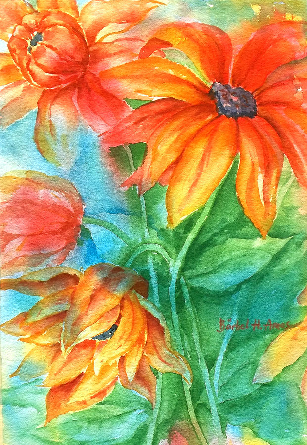 Hot summer flowers painting by barbel amos for Barbel art