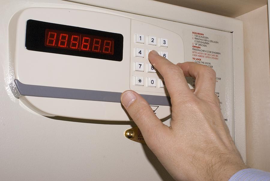 Burglar Photograph - Hotel Safe Keypad. by Mark Williamson