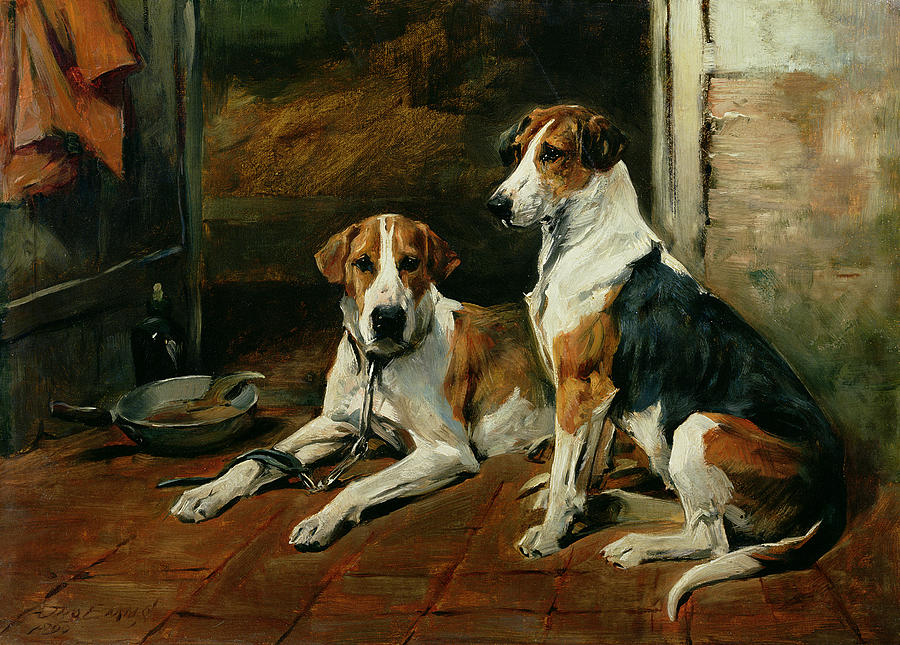 John Emms Painting - Hounds In A Stable Interior by John Emms