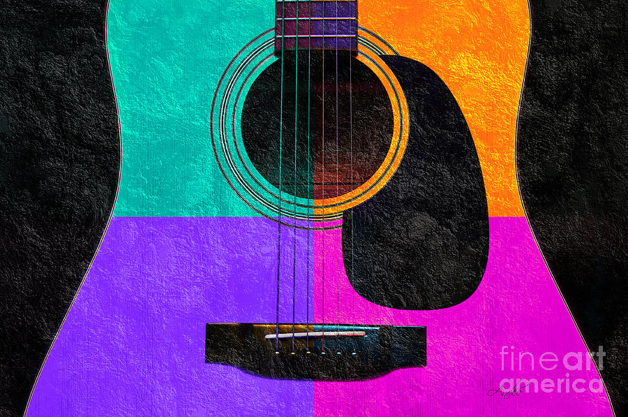 Texture Photograph - Hour Glass Guitar 4 Colors 2 by Andee Design