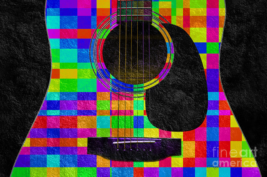 Guitar Photograph - Hour Glass Guitar Random Rainbow Squares by Andee Design