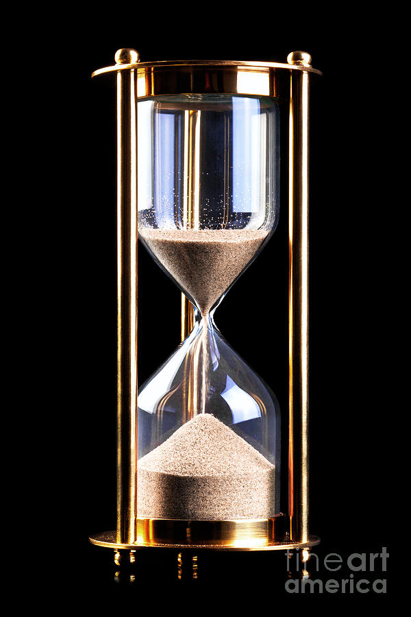 Hourglass Sand Timer On Black Photograph By Richard Thomas