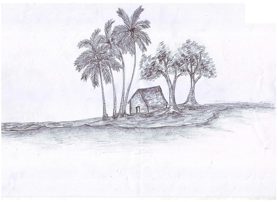D Line Drawings Ideas : House and trees drawing by ayyappadas rajagopal