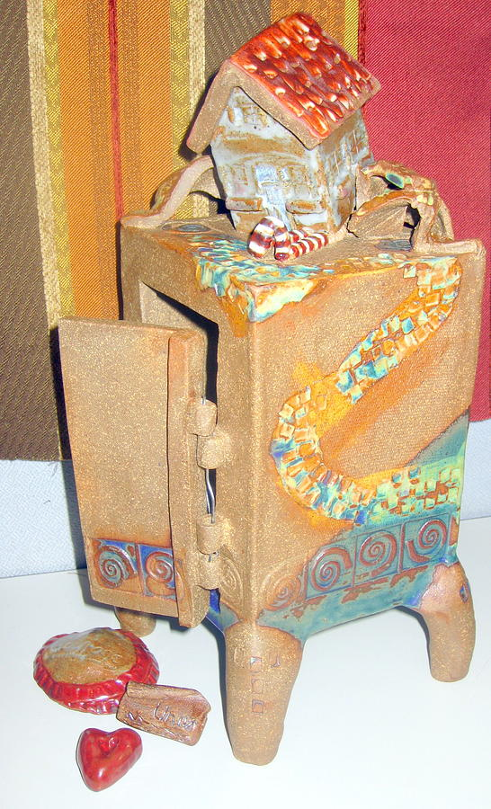 House Ceramic Art - House Fell On My Wicked Witch Treasure Chest by Chere Force