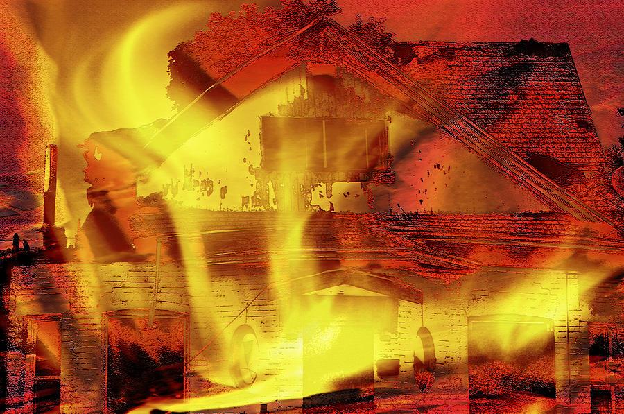 Home Photograph - House Fire Illustration 2 by Steve Ohlsen
