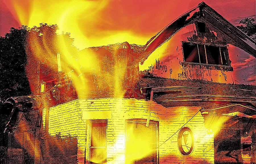 Home Photograph - House Fire Illustration by Steve Ohlsen