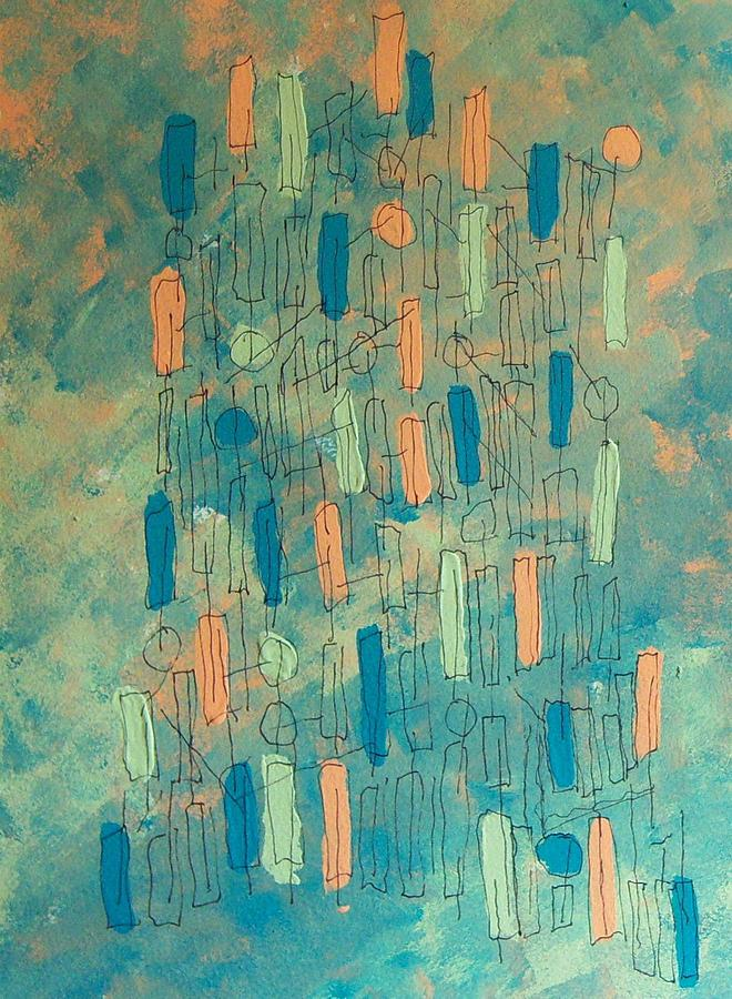 Abstract Painting - House Of Cards by Helene Henderson