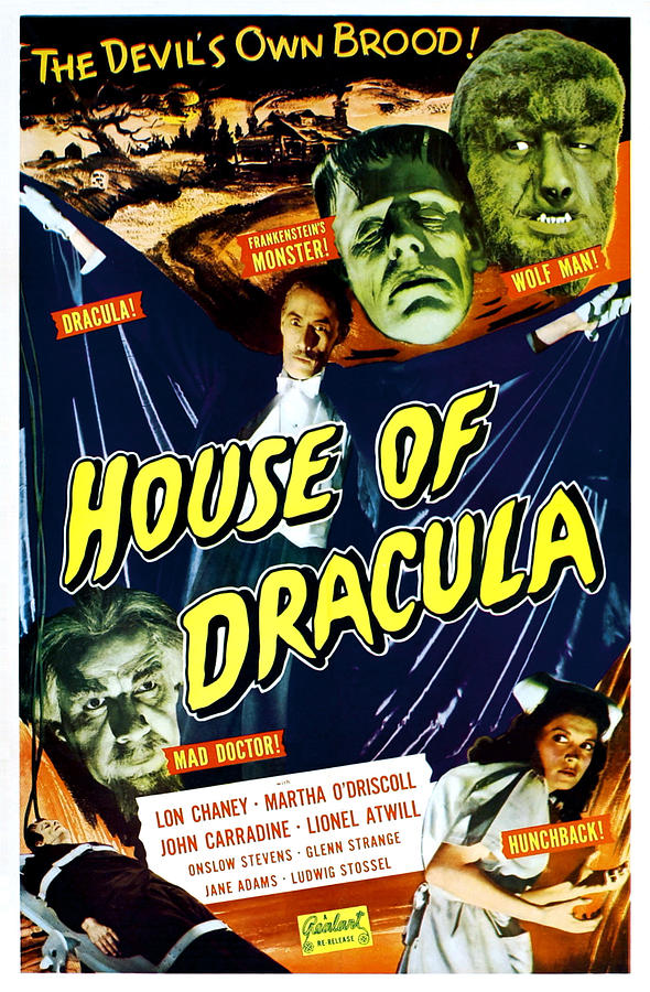 1940s Movies Photograph - House Of Dracula, Top From Left Glenn by Everett
