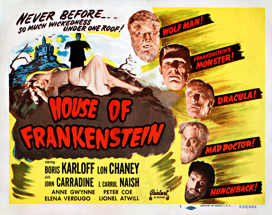 1940s Movies Photograph - House Of Frankenstein, 1950 Re-issue by Everett