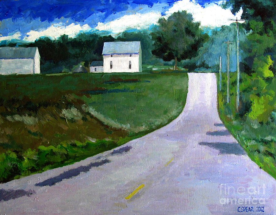 Landscape Painting - House On The Hill by Charlie Spear