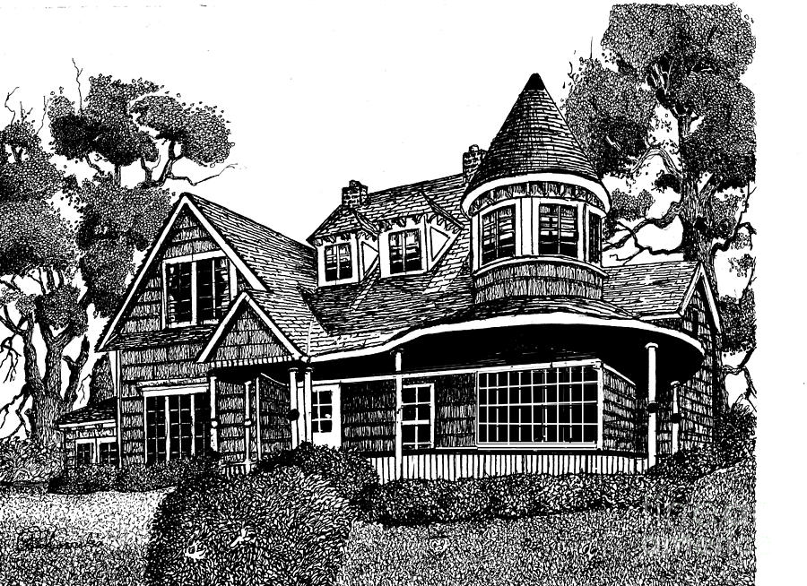 Peter Drawing - House Portrait by Peter Cornelis