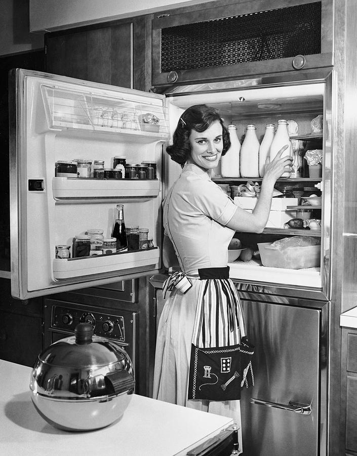Adults Only Photograph - House Wife Removing Milk From Refrigerator by George Marks