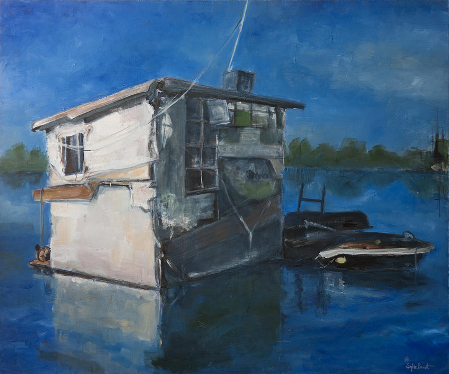 Sophie Brunet Painting - Houseboat by Sophie Brunet