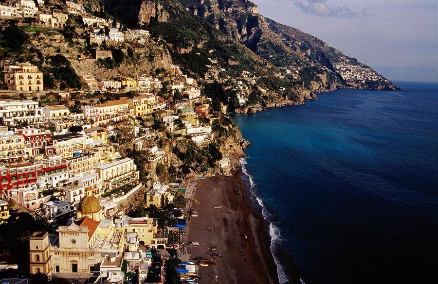 Adult Photograph - Houses And Church Of Santa Maria Assunta Above Spaggia Grande Beach, Positano, Italy by Craig  Pershouse