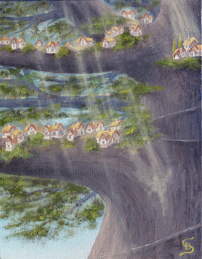 Tinny Cottages Painting - Houses In A Tree From Arboregal by Dumitru Sandru