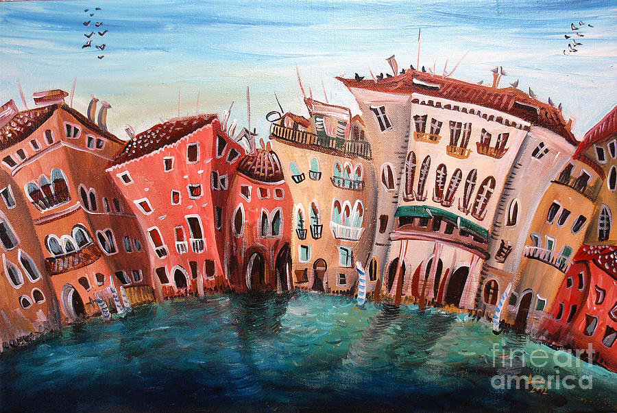 Houses Painting - Houses by Lucia Chocholackova