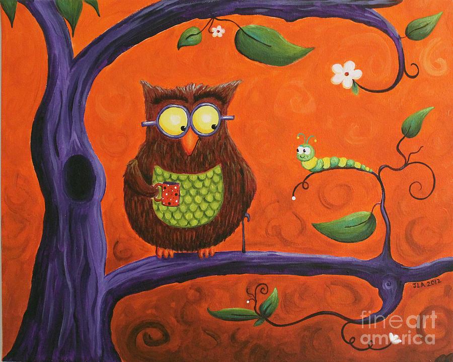 Owl Painting - How Do You Do by Jennifer Alvarez