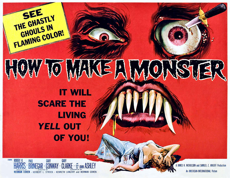 1958 Movies Photograph - How To Make A Monster, Half-sheet by Everett