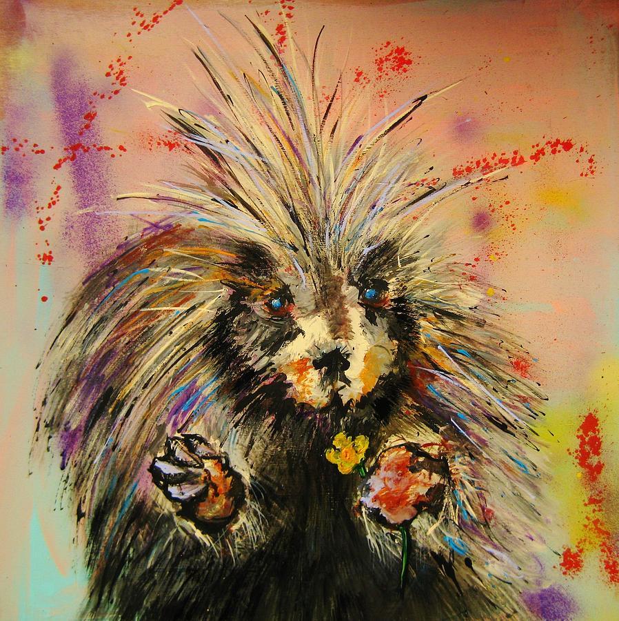 Hugs The Porcupine Painting By Dan Maccosbe