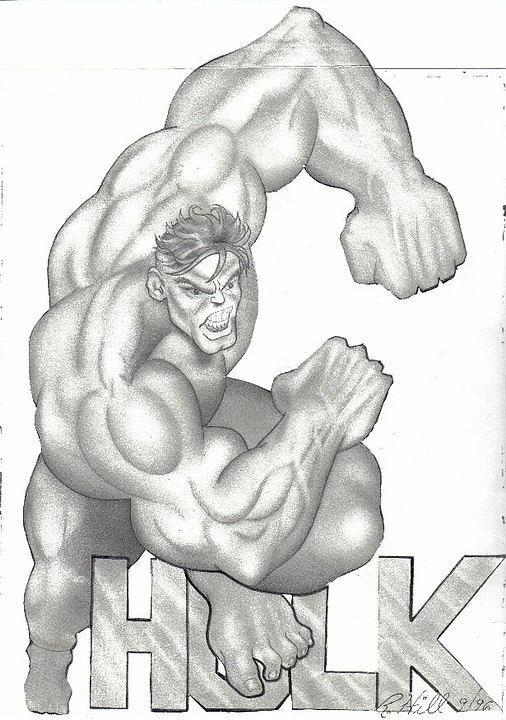 Portraits Drawing - Hulk by Rick Hill