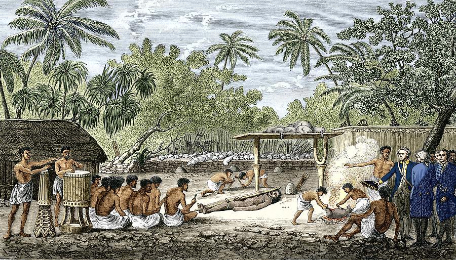 James Cook Photograph - Human Sacrifice In Tahiti, Artwork by Sheila Terry