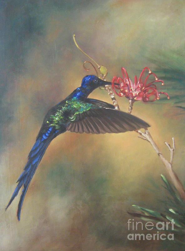 Bird Painting - Hummingbird by Rose Baggs