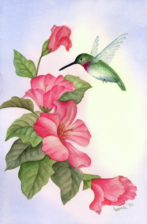 Hummingbird with Hibiscus Painting by Leona Jones