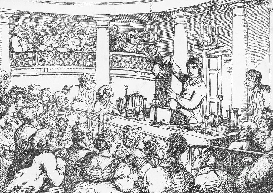 Science Photograph - Humphrey Davy Lecturing, 1809 by Science Source