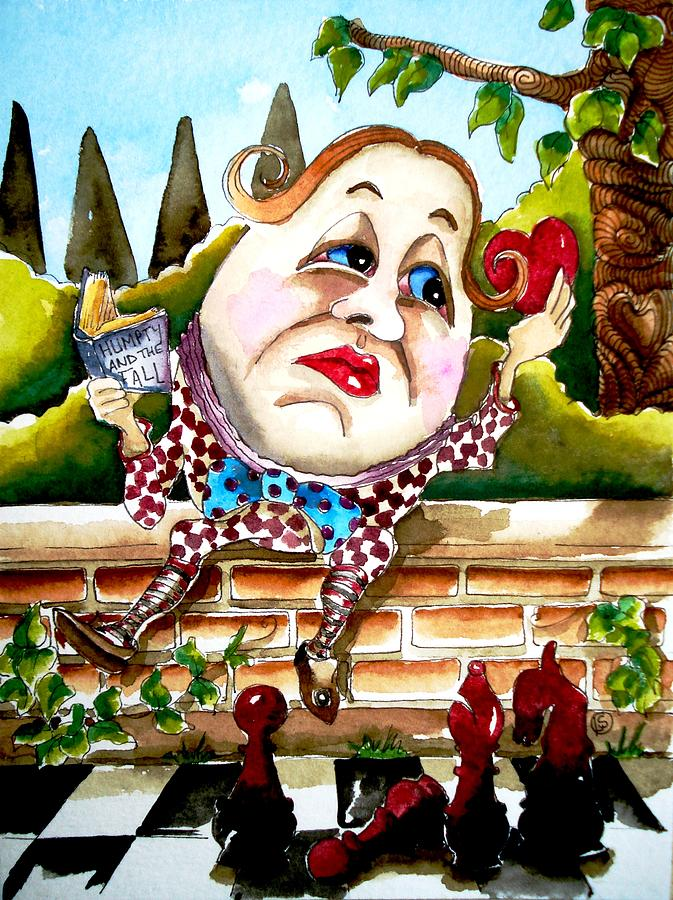 Alice In Wonderland Painting - Humpty Dumpty by Lucia Stewart