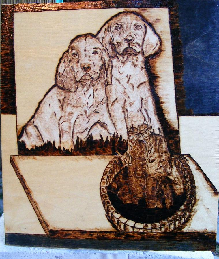 Pyrography Pyrography - Hungarian Pointers Puppys by Egri George-Christian