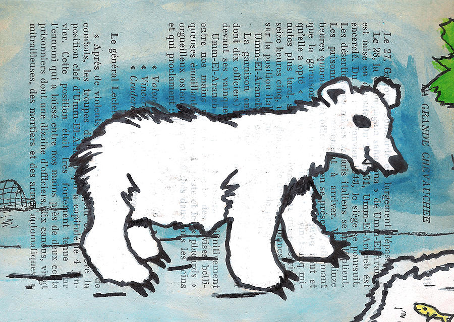Hungry Painting - Hungry Polar Bear by Jera Sky