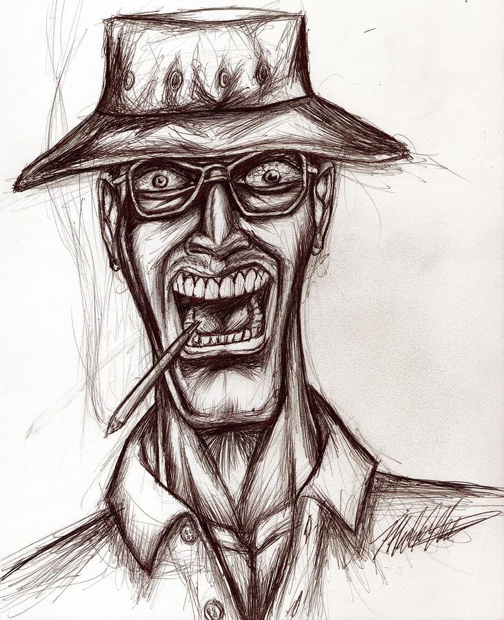 Hunter Drawing - Hunter S. Thompson by Michael Mestas