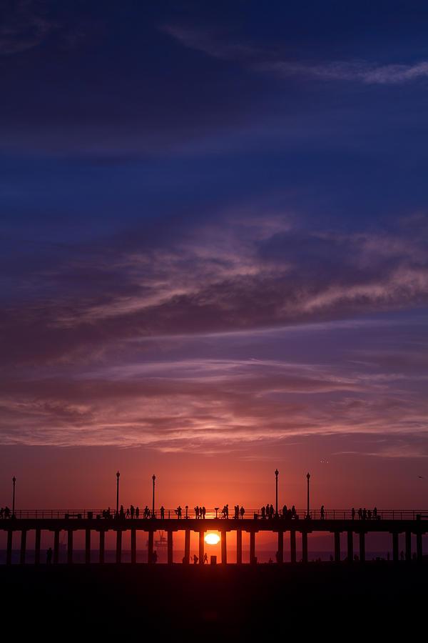 Sunset Photograph - Huntington Beach Pier by Dina Calvarese