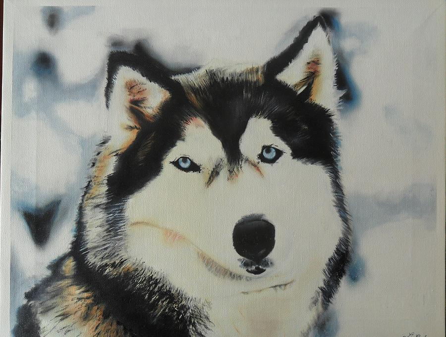 Dogs Painting - Husky by Luis Carlos A