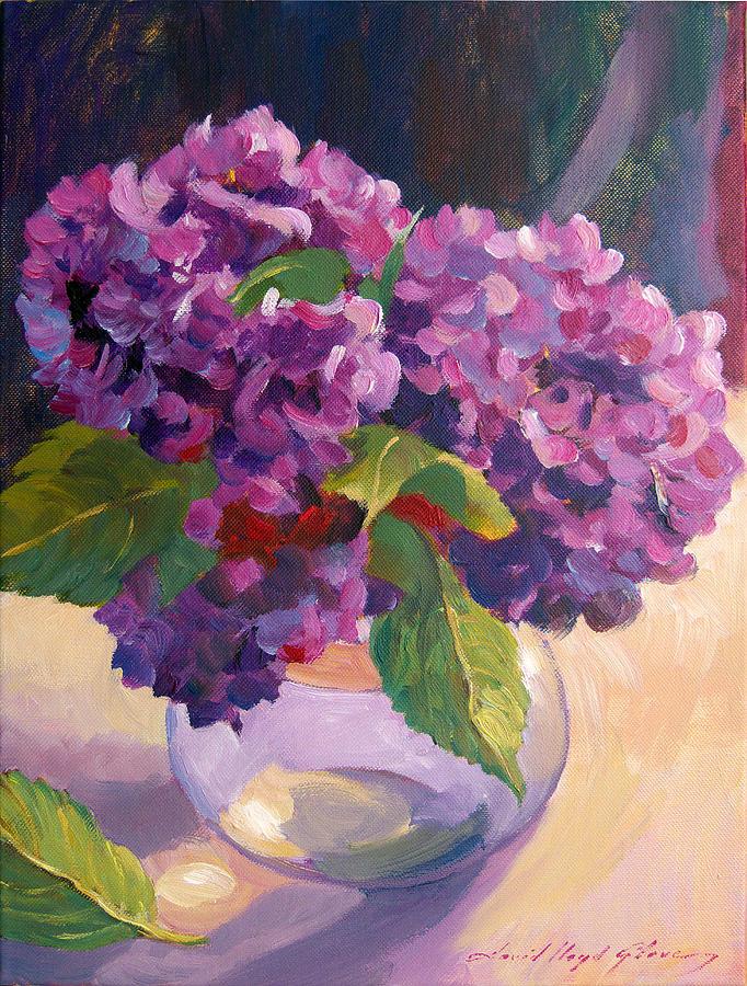 Hydrangeas Glass Bowl Painting By David Lloyd Glover