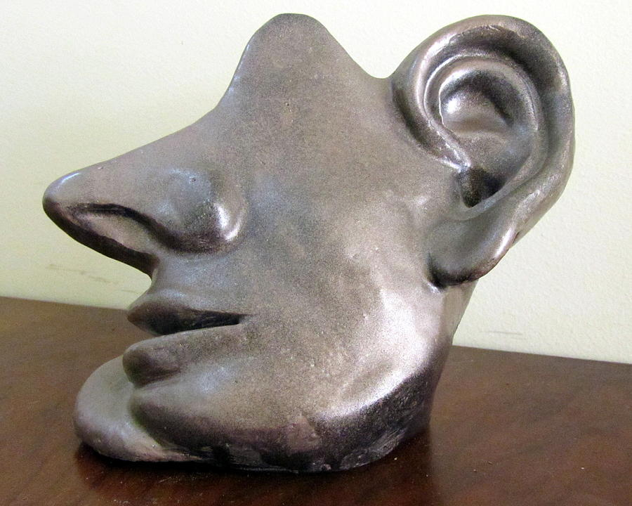 All Ears Sculpture - I Am All Ears Head Face With Ears Only Large Nose No Eyes Huge Ears by Rachel Hershkovitz