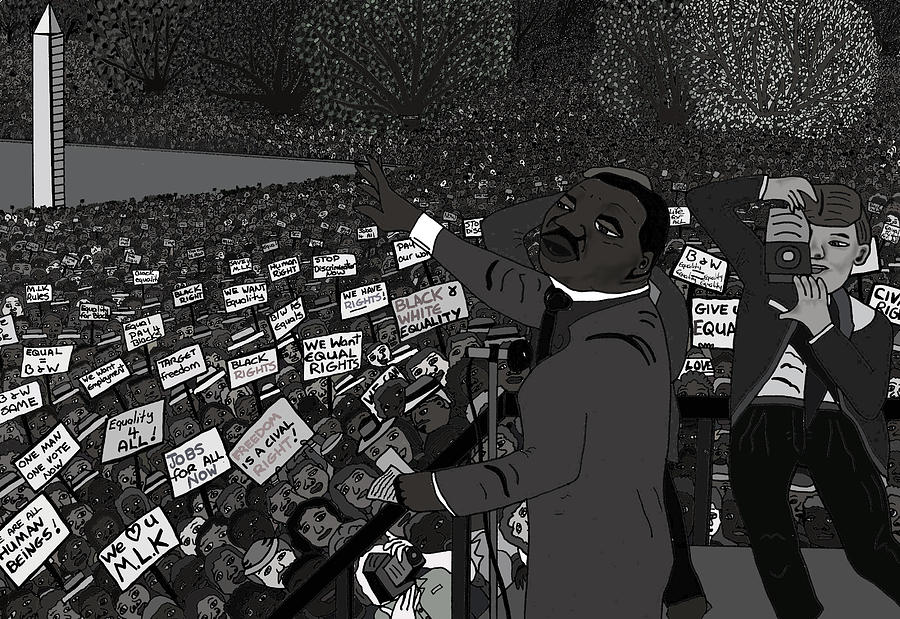 Martin Luther King Posters Drawing - I Have A Dream Black And White by Karen Elzinga